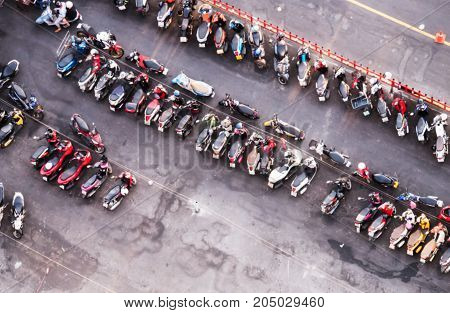 Abstract blurred or de focused motorcycle parking for background