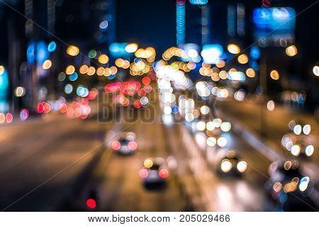 Bokeh light traffic on the road for background