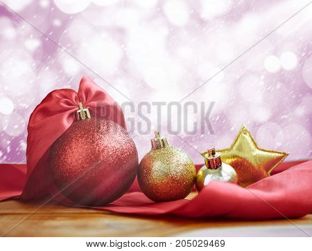 Christmas Decoration On Abstract Background. Christmas Ball Red Gold Star.