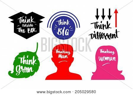 6 kines of thinks such as think outside the box think big think difference think green thinking man thinking woman vector illustration design.