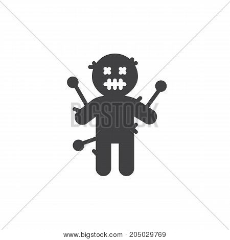 Voodoo doll icon vector, filled flat sign, solid pictogram isolated on white. Halloween holiday Symbol, logo illustration.