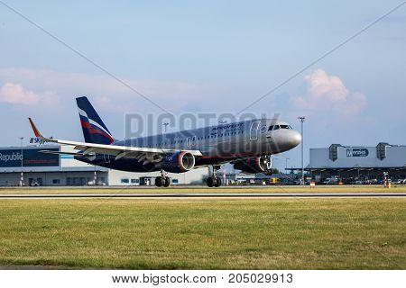 PRAGUE CZECH REPUBLIC - SEPTEMBER 20 2017: Airbus A320 of Aeroflot taxiing in Prague airport. Aeroflot Airbus A320 landing in Vaclav Havel airport in Prague