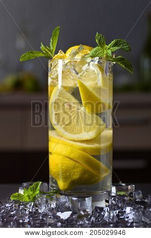 Cocktail With Lemon And Peppermint.