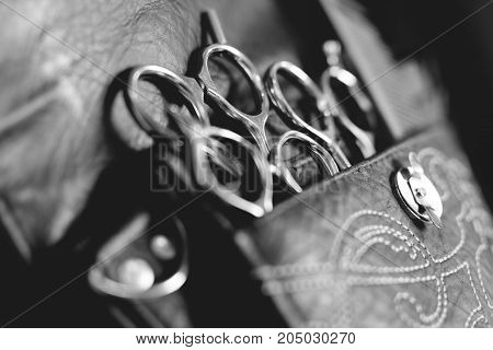 Close-up of tools of a professional hairdresser neatly stored in a leather belt