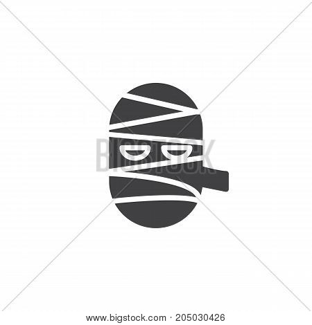 Mummy mask icon vector, filled flat sign, solid pictogram isolated on white. Halloween holiday Symbol, logo illustration.