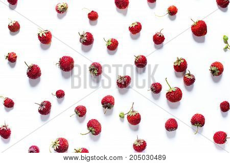 Scattered Strawberry Isolated On White Healthy