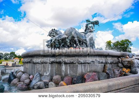 COPENHAGEN, DENMARK - JULY 20: The Gefion Fountain, a large fountain on the harbour front and one of the most popular tourist destination in Copenhagen, Denmark