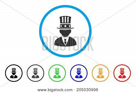 American Capitalist rounded icon. Style is a flat american capitalist grey symbol inside light blue circle with black, gray, green, blue, red, orange variants.