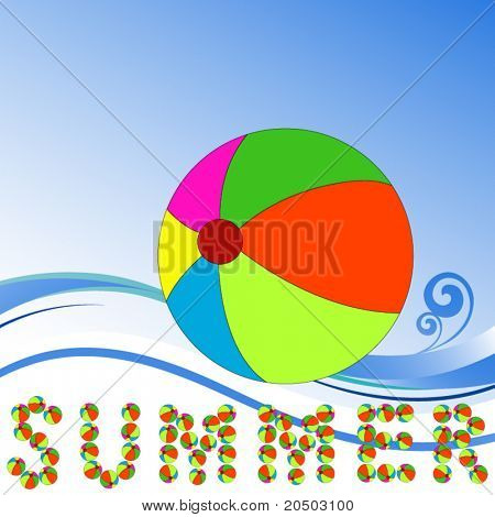 Beachball - word summer spelled out with beachballs