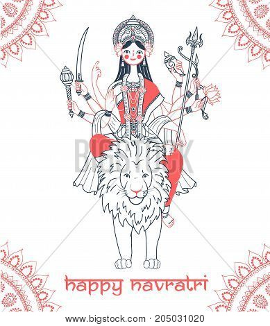 Greeting Card Navratri Goddess Durga