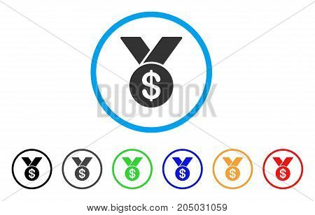 Bestseller Medal rounded icon. Style is a flat bestseller medal gray symbol inside light blue circle with black, gray, green, blue, red, orange variants.
