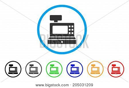 Cash Machine rounded icon. Style is a flat cash machine gray symbol inside light blue circle with black, gray, green, blue, red, orange variants. Vector designed for web and software interfaces.