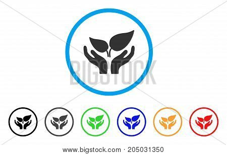 Eco Startup Care Hands rounded icon. Style is a flat eco startup care hands gray symbol inside light blue circle with black, gray, green, blue, red, orange variants.