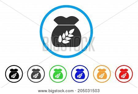 Grain Harvest Sack rounded icon. Style is a flat grain harvest sack grey symbol inside light blue circle with black, gray, green, blue, red, orange versions.
