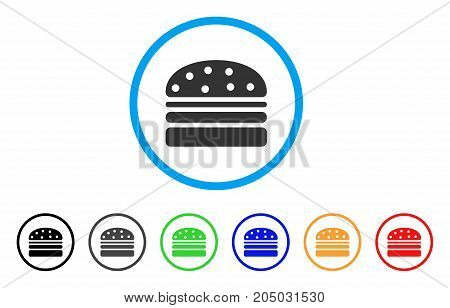 Hamburger rounded icon. Style is a flat hamburger grey symbol inside light blue circle with black, gray, green, blue, red, orange color versions. Vector designed for web and software interfaces.