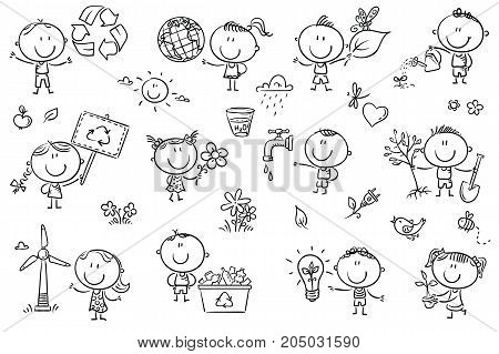 Doodle kids with ecology concepts - green energy recycling environment conservation healthy lifestyle. No gradients used easy to print and edit. Vector files can be scaled to any size.