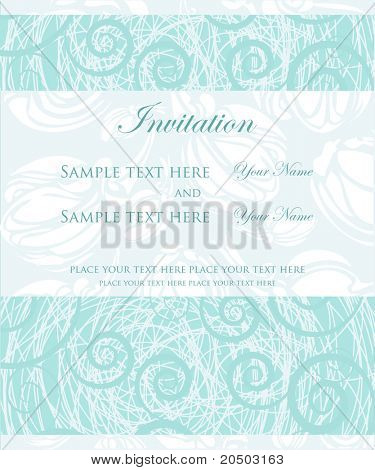 Vintage card with blue flowers, design for wedding invitation
