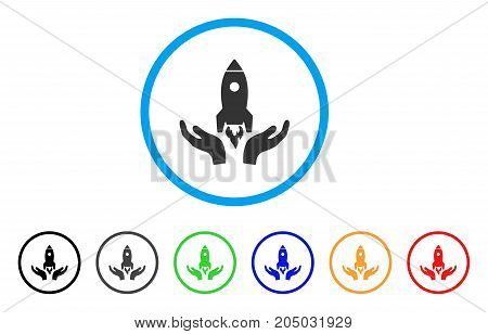 Startup rounded icon. Style is a flat startup gray symbol inside light blue circle with black, gray, green, blue, red, orange variants. Vector designed for web and software interfaces.