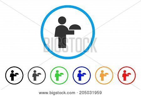 Waiter rounded icon. Style is a flat waiter grey symbol inside light blue circle with black, gray, green, blue, red, orange versions. Vector designed for web and software interfaces.