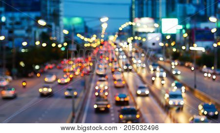 Evening trafficMotion blur and bokeh effect viewed from the road bridge Thailand.