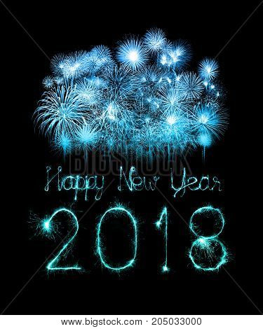 Happy New Year 2018 Written With Sparkle Firework