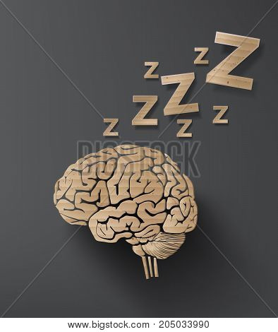 vector of sleep concept with brain. info graphic cardboard design.
