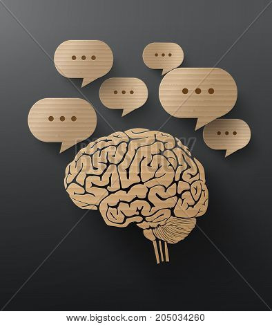 Abstract cardboard graphics of brain and bubble speech.