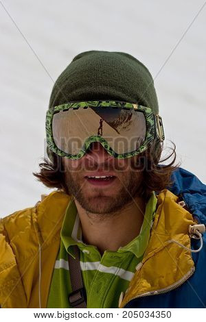 Portrait of freerider in Caucasus Mountains. Summer, 2010