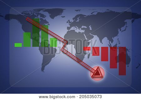 Economy graph lowering illustration with a red arrow lower Infographic elements with map world backdrop can be used for workflow layout for modern business. Economy graph concept.