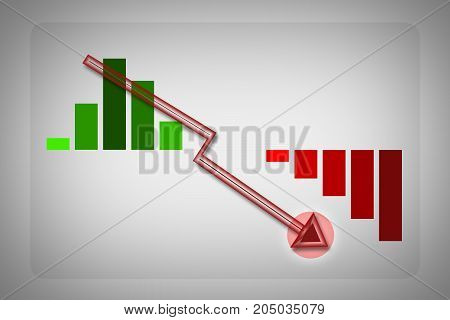 Lowering graph illustration with a red arrow lower Infographic elements with grey vignette backdrop can be used for workflow layout for modern business.