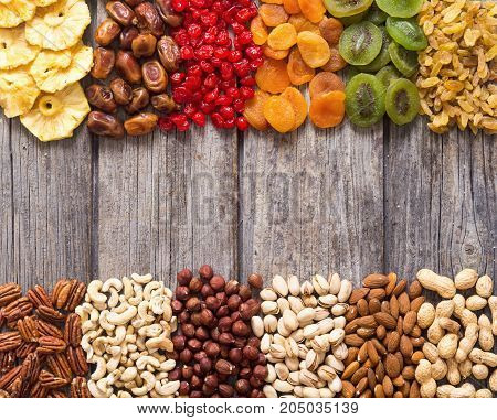 Mix of nuts dried and candied fruit background