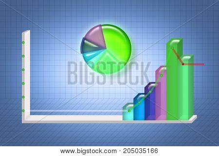 Graph illustration Infographic elements and grid can be used for workflow layout for modern business 3D illustration.