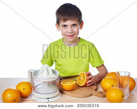 Happy Boy Cutting Orange For Juicer Isolated
