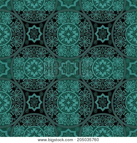 Turquoise abstract seamless lace pattern background silhouette, textile