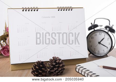 Calendar 2018 on desk office. organization management remind concept.
