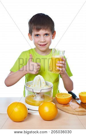 Happy Boy With Juice And Showing Thumbs Up Isolated