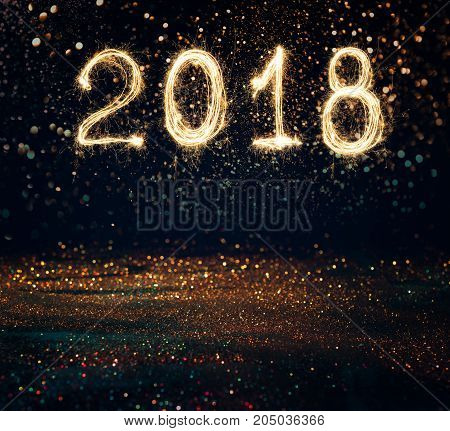 2018 Written With Sparkle Firework On Black Background , 2018 Happy New Year Background Concept.