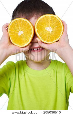 Happy Boy With Two Slices Orange Isolated