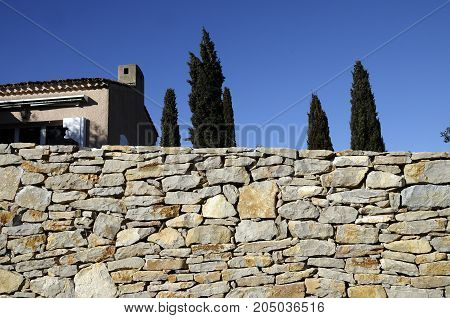 Provencal House And Wall, France