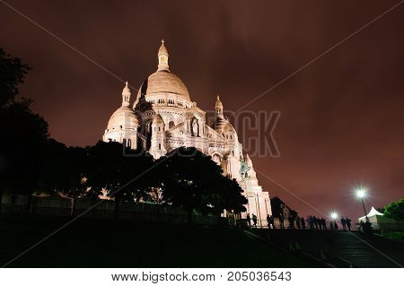 Sacre-Coeur Basilica. Basilica of the Sacred Heart by Night, Paris France