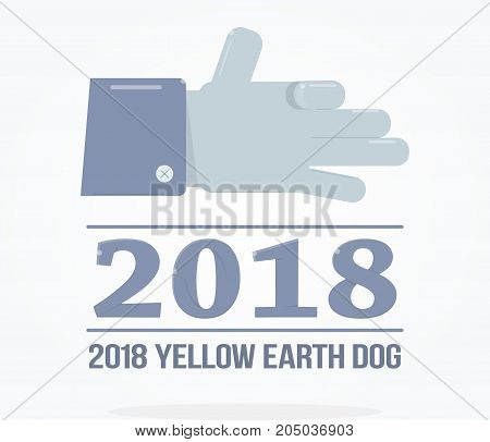Modern symbol of the new year. Hand gesture dog face.
