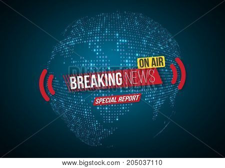 Illustration of Vector Breaking News Banner. Broadcast News Design. News Report Template on Glowing Planet Background