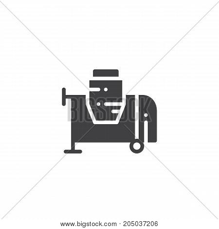 Concrete mixer icon vector, filled flat sign, solid pictogram isolated on white. Symbol, logo illustration.