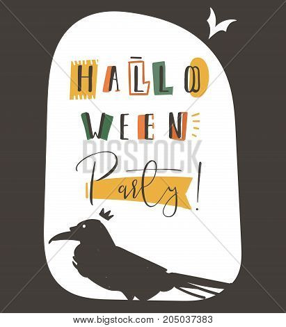 Hand drawn vector abstract cartoon Happy Halloween illustration party poster with different decoration elements, raven, and modern calligraphy phase Halloween party isolated on white background.