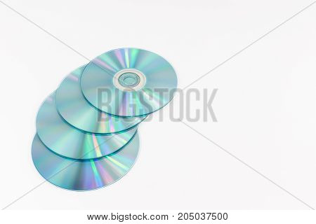 Cd-rom Disc With Rainbow Reflective Light Isolated