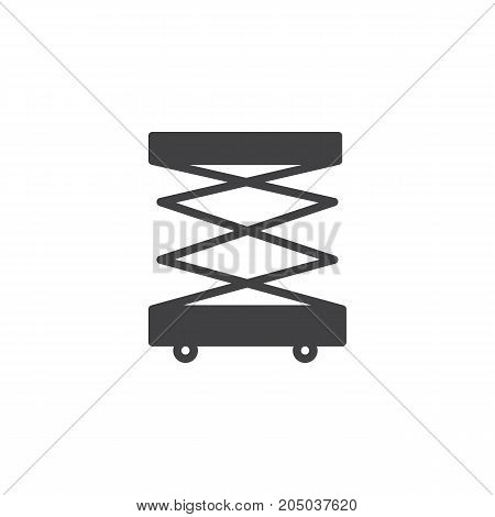 Lifting machine icon vector, filled flat sign, solid pictogram isolated on white. Symbol, logo illustration
