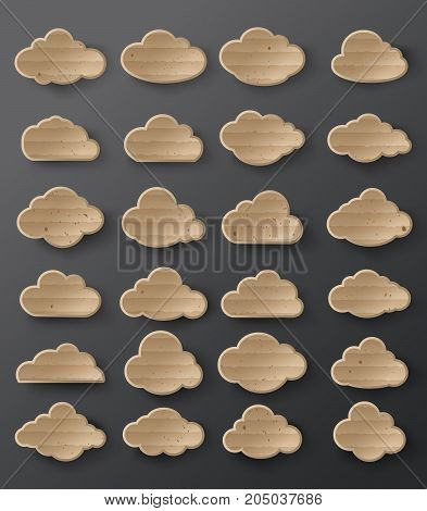 Vector illustration of clouds collection.card board style.