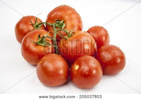 Juicy tomato on the white background with green leafs and droops with copy space