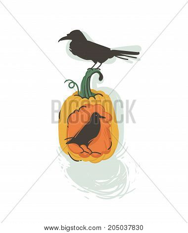 Hand drawn vector abstract cartoon Happy Halloween illustration with pumpkin lantern and ravens isolated on white background