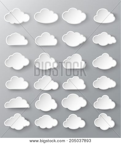 Vector illustration of clouds collection.clouds background.clouds shape.